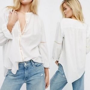 Free People Shimmers And Stripes Button Down White